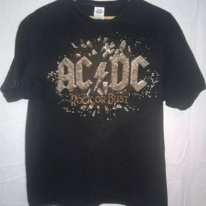 Faded Black XL AC/DC Concert Tee The Rock or Bust